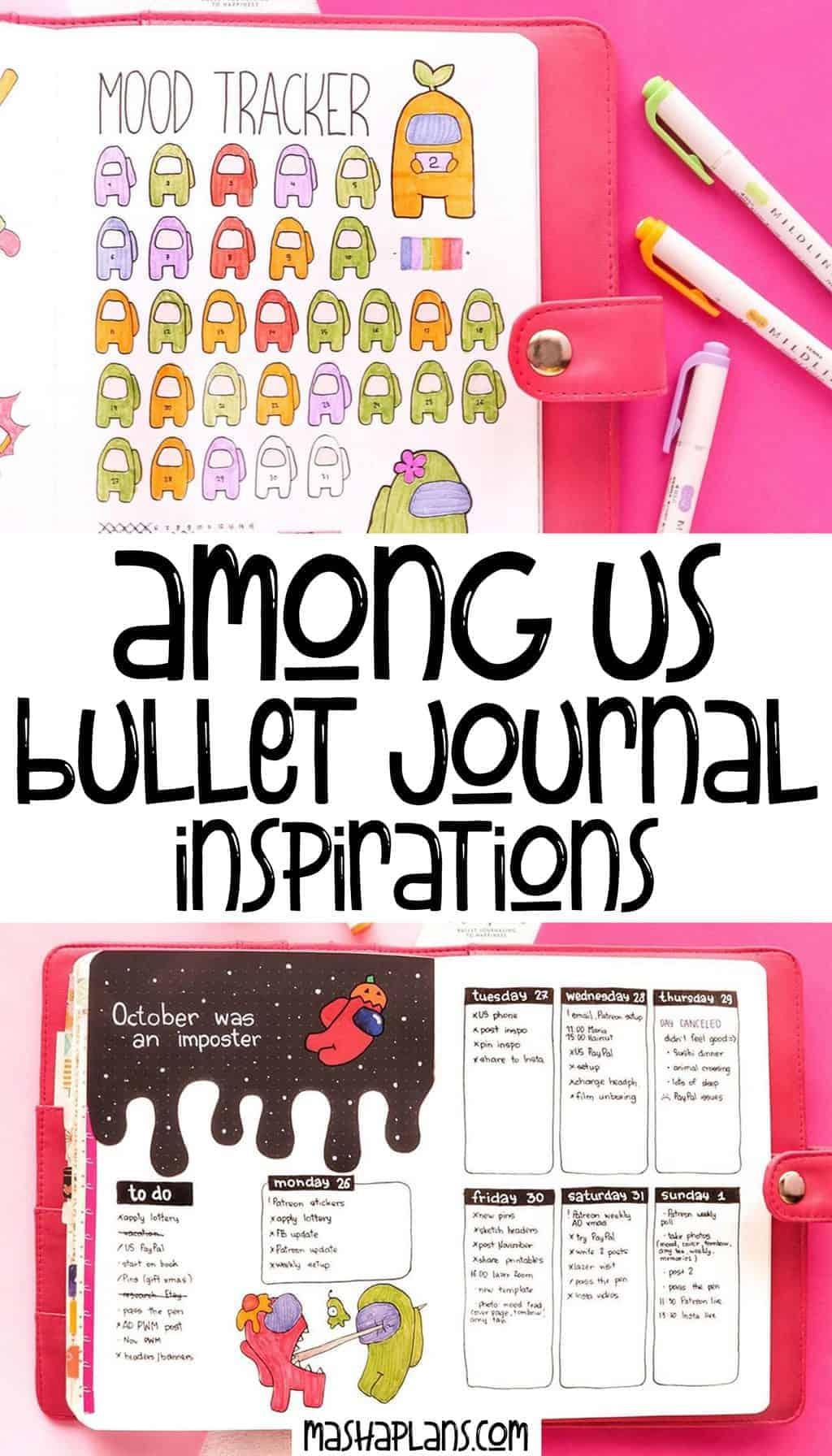 Among Us Themed Bullet Journal Inspirations | Masha Plans
