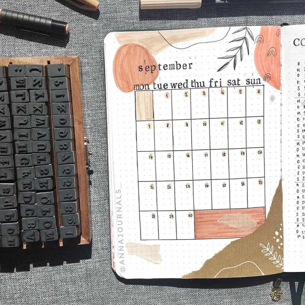 Kraft Paper Fall Bullet Journal Inspirations - monthly log by @annajournals | Masha Plans