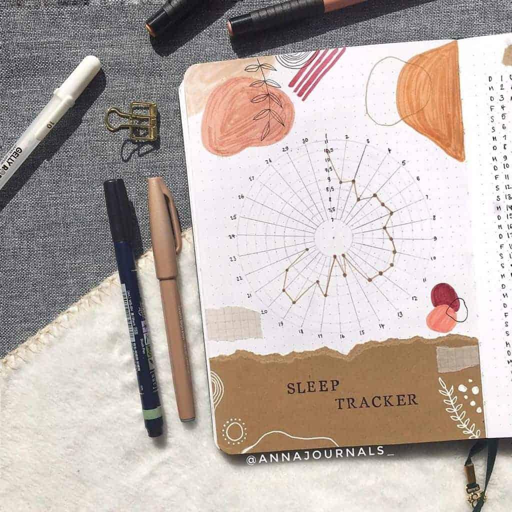 Kraft Paper Fall Bullet Journal Inspirations - sleep tracker by @annajournals | Masha Plans