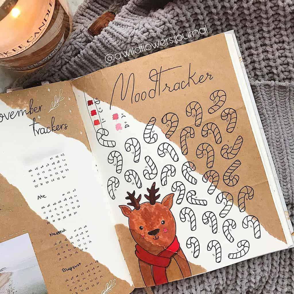 Kraft Paper Fall Bullet Journal Inspirations - mood tracker by @booksndbruisesl | Masha Plans