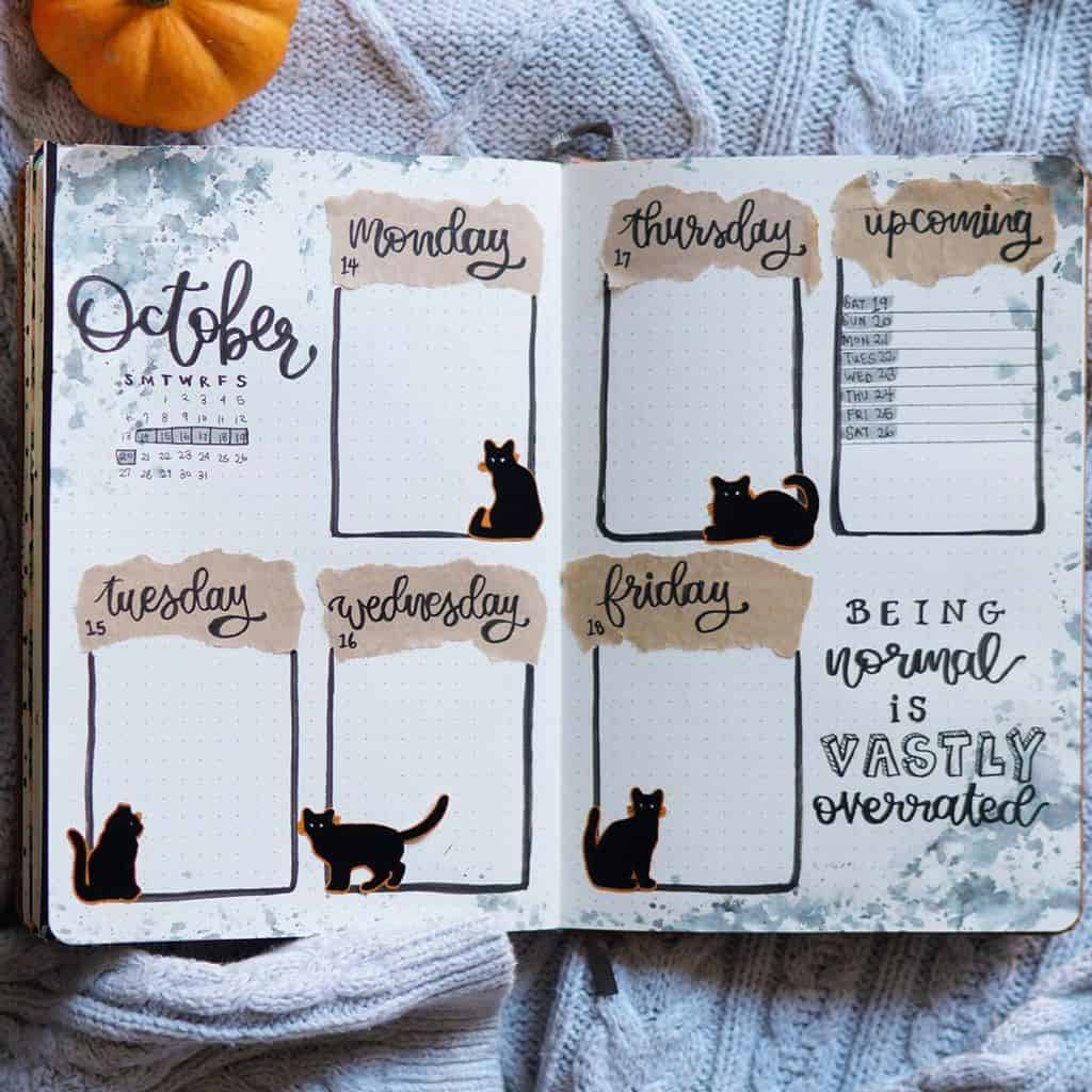 Kraft Paper Fall Bullet Journal Inspirations - weekly spread by @bookstandbujo | Masha Plans