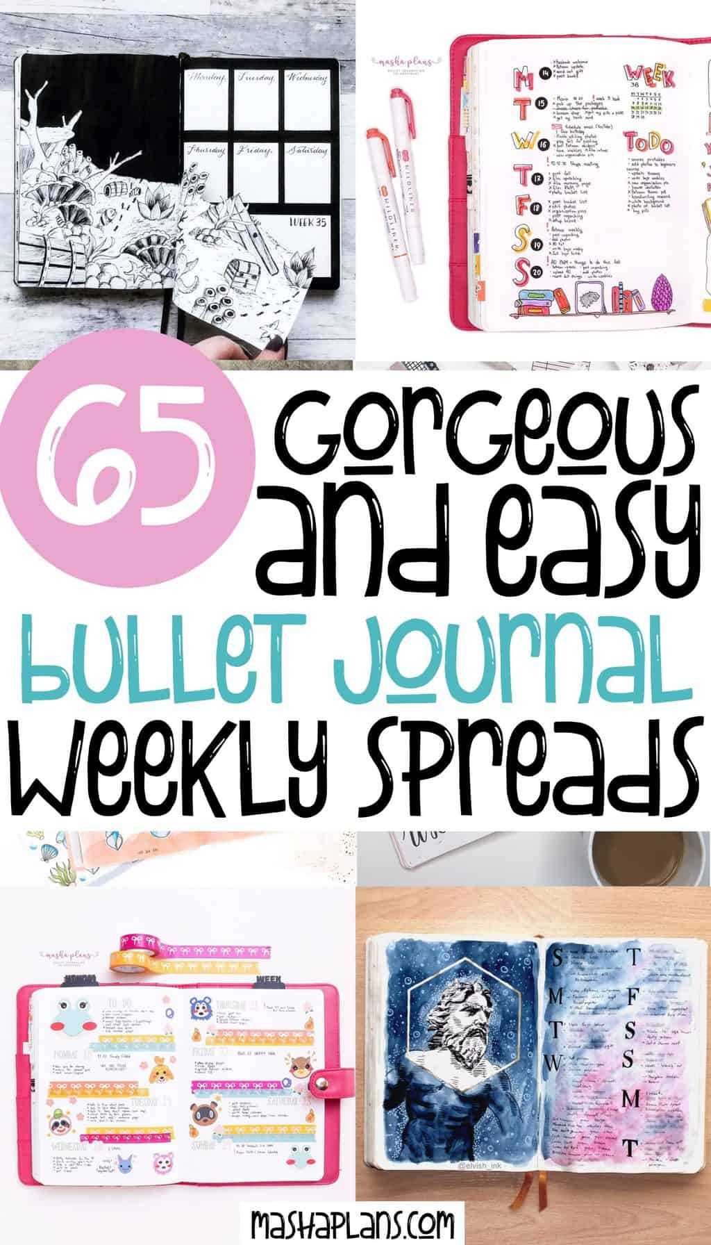 65 Gorgeous and Easy Bullet Journal Weekly Spreads To Try Right Now | Masha Plans