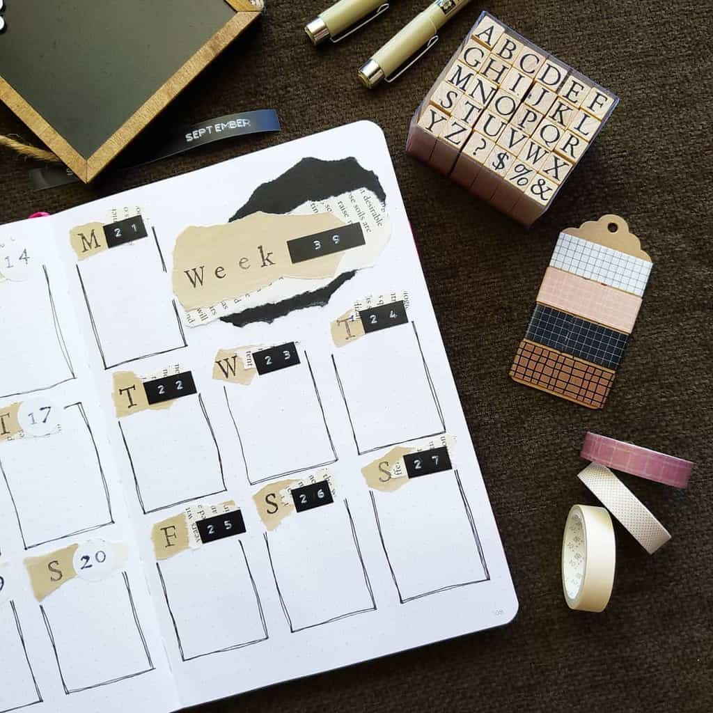 Kraft Paper Fall Bullet Journal Inspirations - weekly spread by @bujo.by.filo | Masha Plans