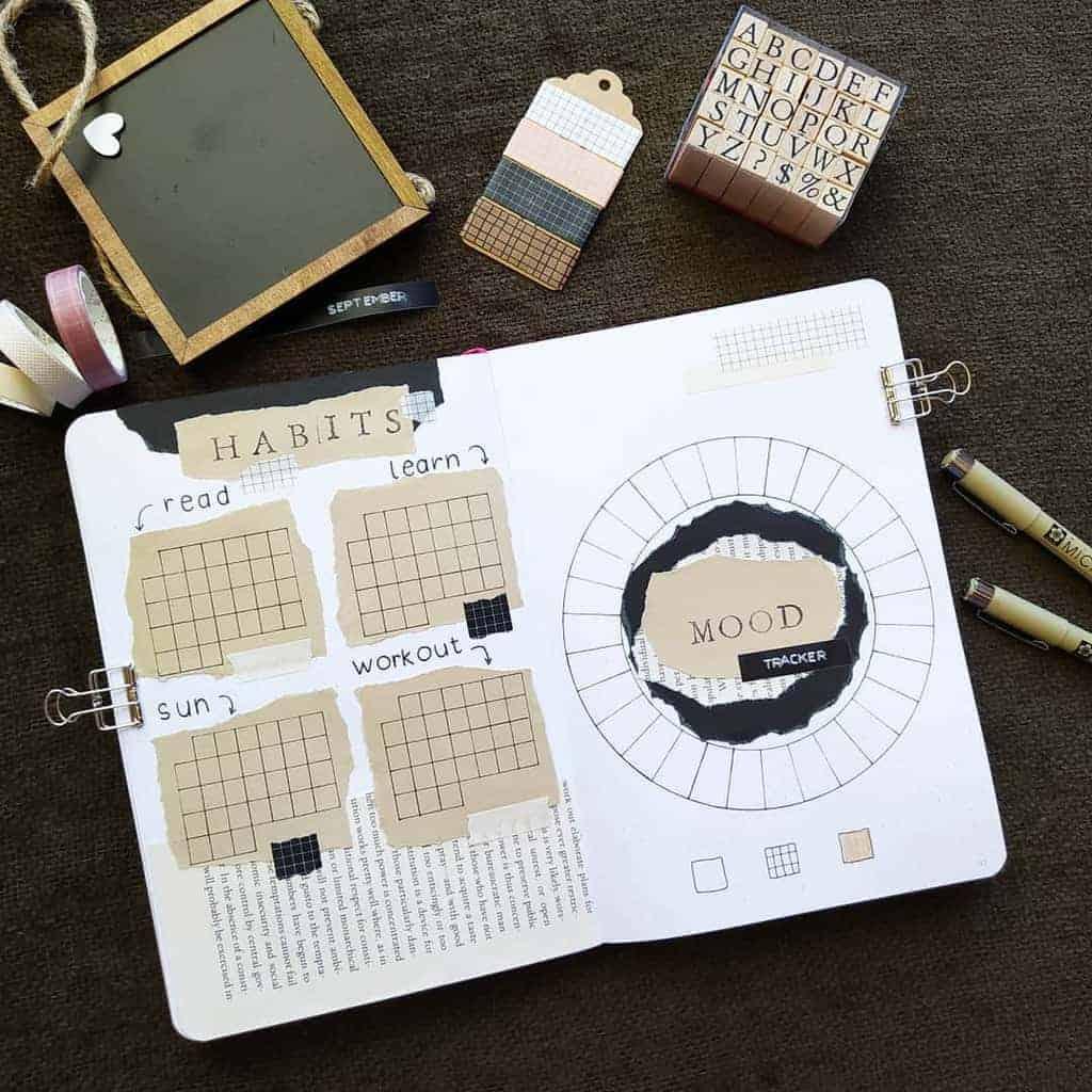Kraft Paper Fall Bullet Journal Inspirations - habit tracker by @bujo.by.filo | Masha Plans