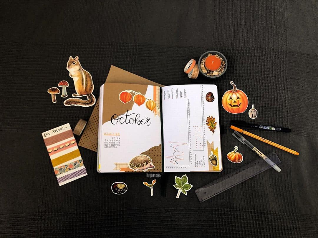 Kraft Paper Fall Bullet Journal Inspirations - cover page by @bujobybien | Masha Plans