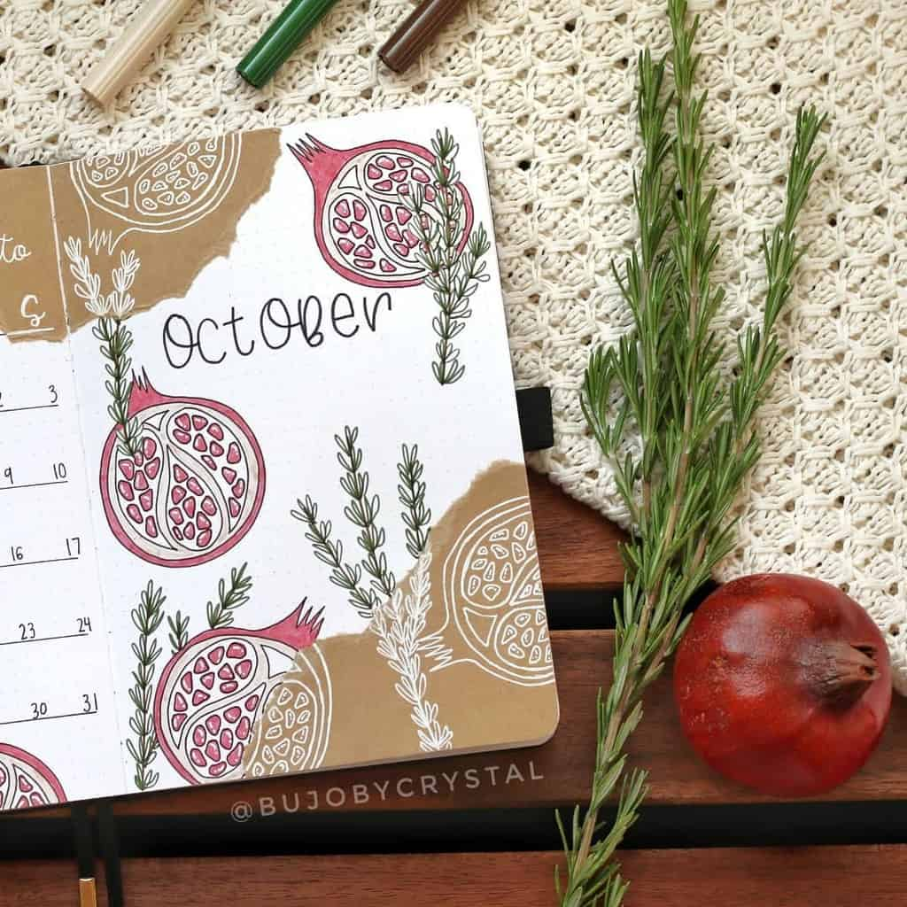 Kraft Paper Fall Bullet Journal Inspirations - cover page by @bujobycrystal | Masha Plans