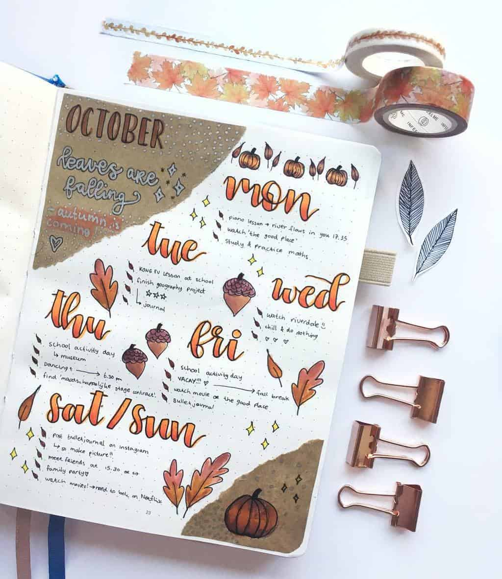 Kraft Paper Fall Bullet Journal Inspirations - weekly spread by @bulletjournal.ideas | Masha Plans