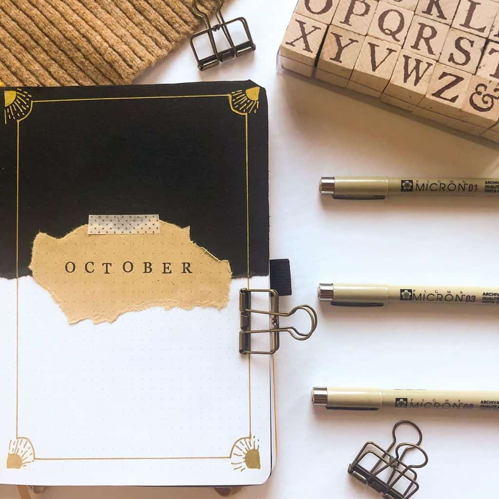 Kraft Paper Fall Bullet Journal Inspirations - cover page by @bythebullet | Masha Plans