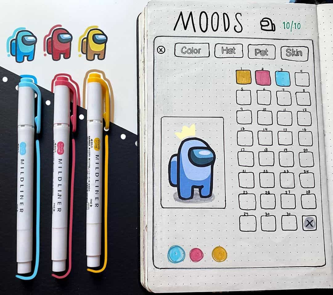 Among Us Themed Bullet Journal Inspirations, monthly log by @cattolina.art | Masha Plans