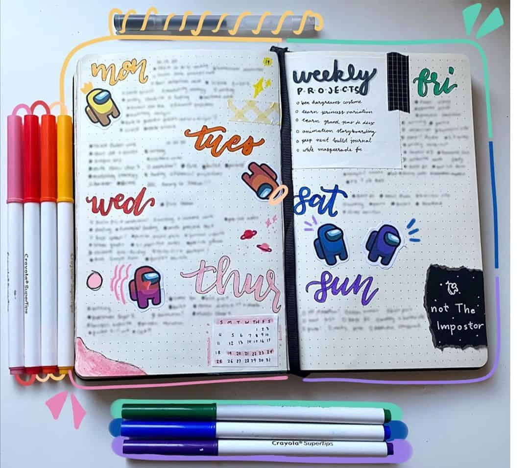 Among Us Themed Bullet Journal Inspirations, weekly spread by @cattolina.art | Masha Plans
