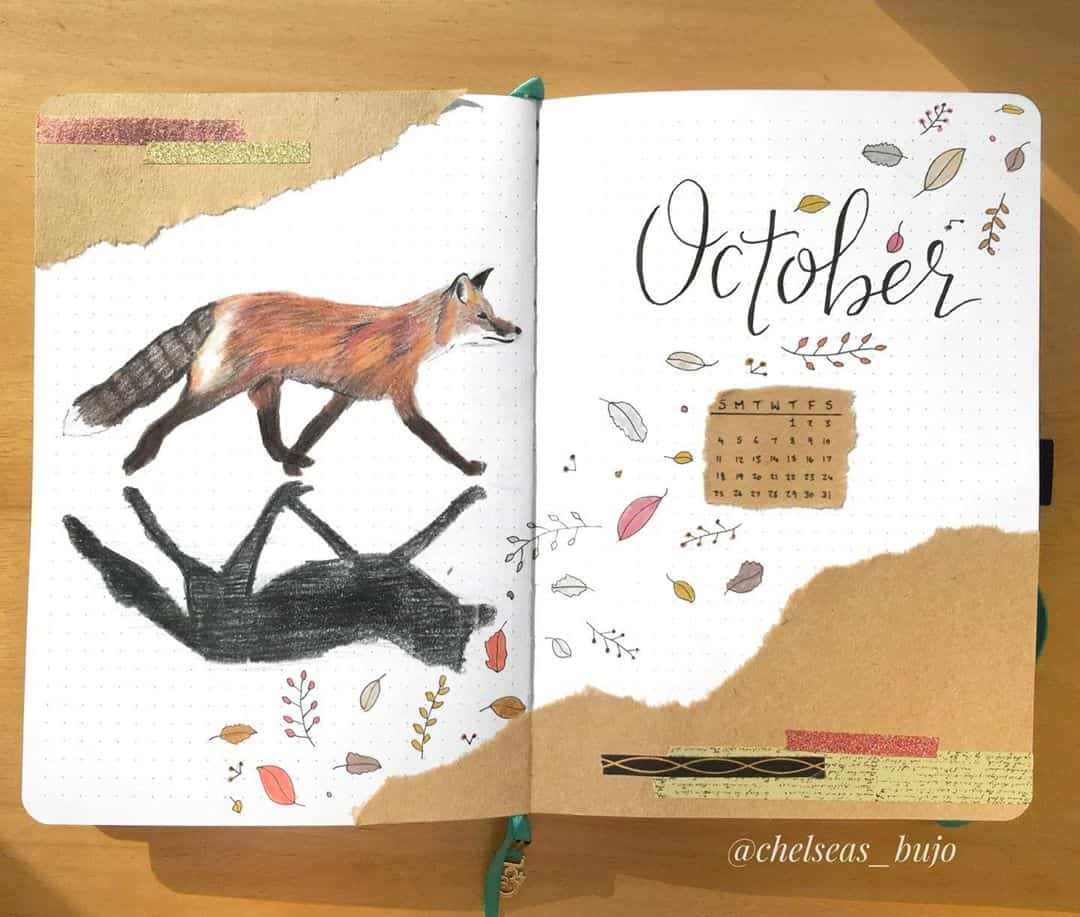 Kraft Paper Fall Bullet Journal Inspirations - cover page by @chelseas_bujo | Masha Plans