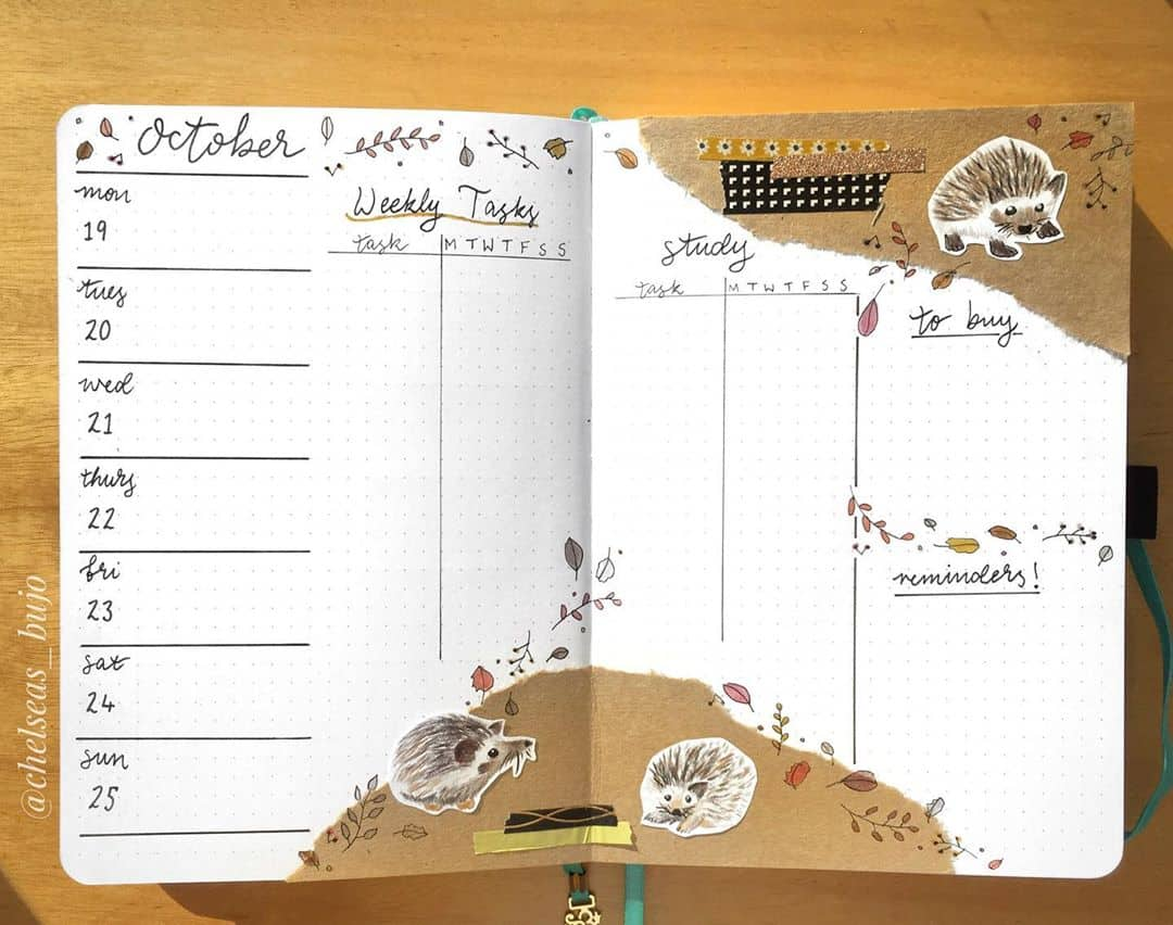 Kraft Paper Fall Bullet Journal Inspirations - habit tracker by @chelseas_bujo | Masha Plans