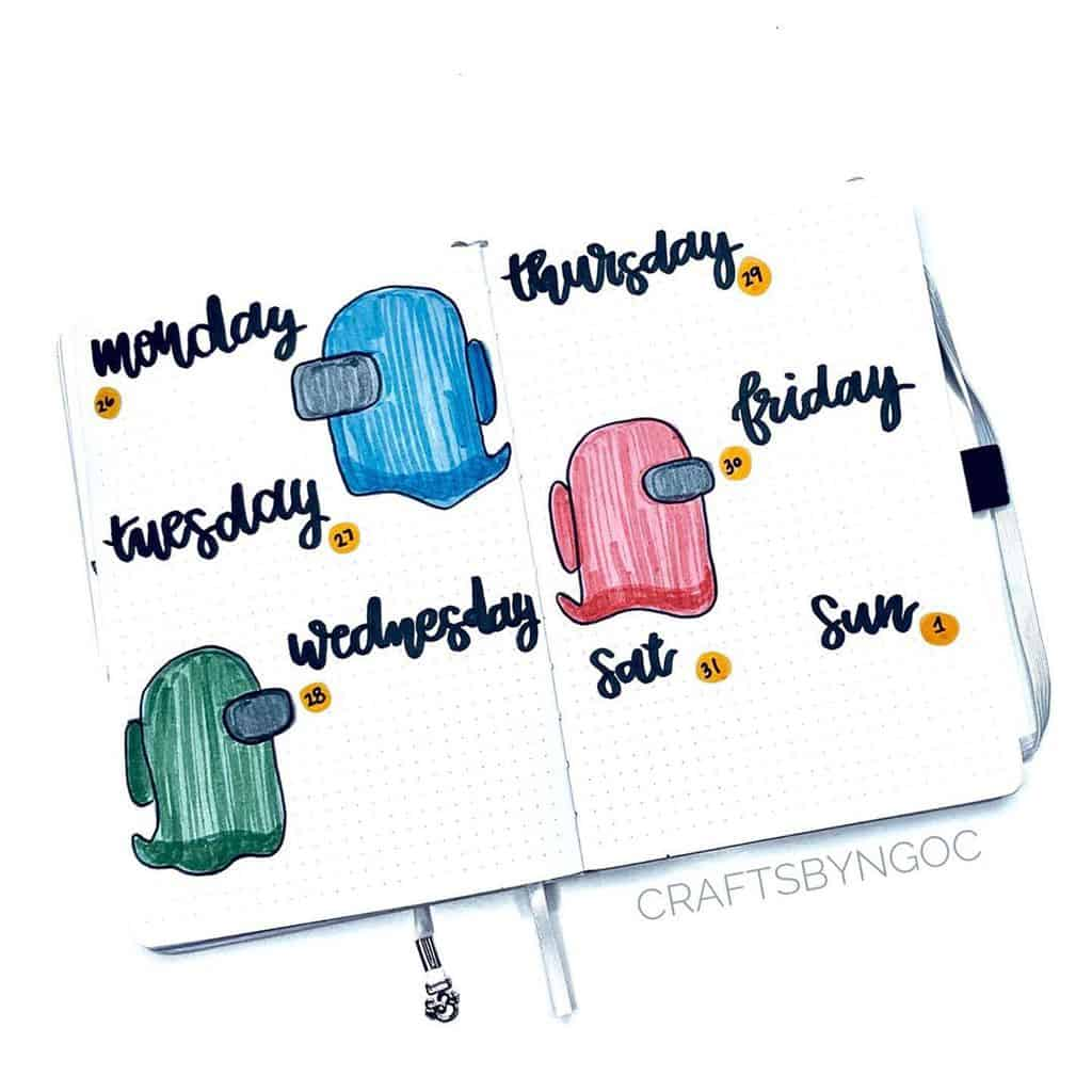 Among Us Themed Bullet Journal Inspirations, weekly spread by @craftsbyngoc | Masha Plans