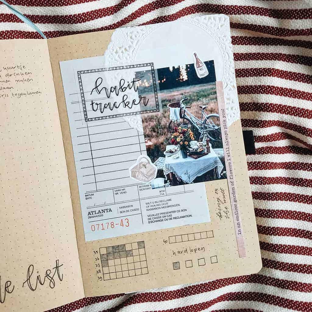 Kraft Paper Fall Bullet Journal Inspirations - habit tracker by @creativelien | Masha Plans