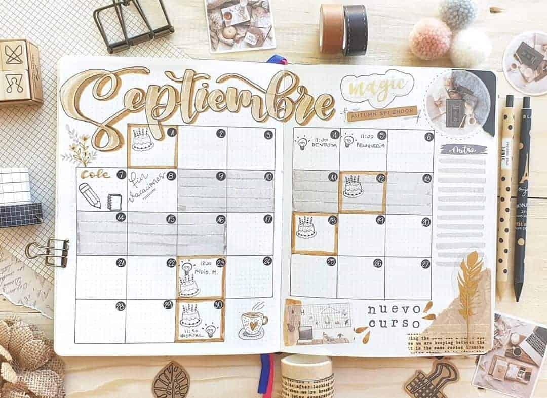 Kraft Paper Fall Bullet Journal Inspirations - monthly log by @gaeliz_diy | Masha Plans