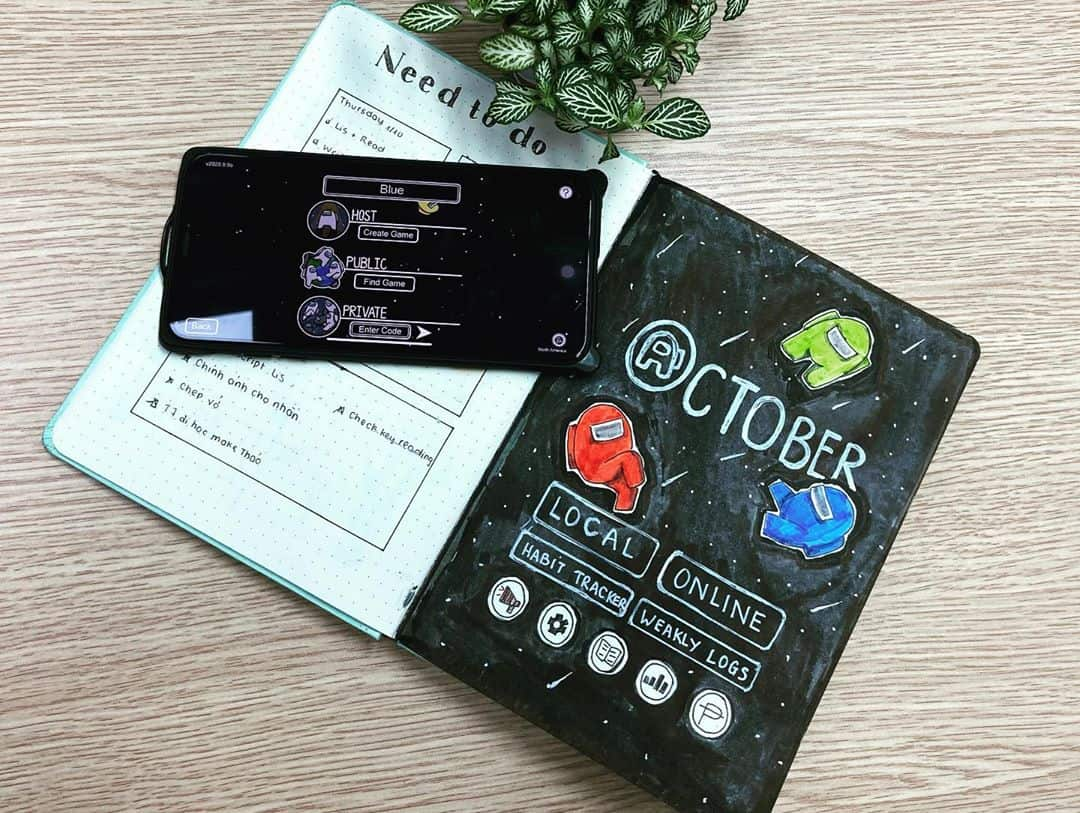 Among Us Themed Bullet Journal Inspirations, cover page by @hoan_hi | Masha Plans