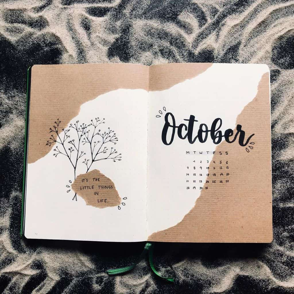 Kraft Paper Fall Bullet Journal Inspirations - cover page by @january._journal | Masha Plans