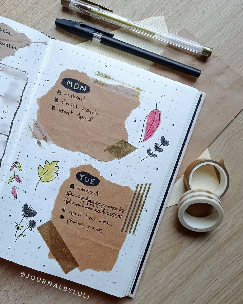 Kraft Paper Fall Bullet Journal Inspirations - weekly spread by @journalbyluli | Masha Plans