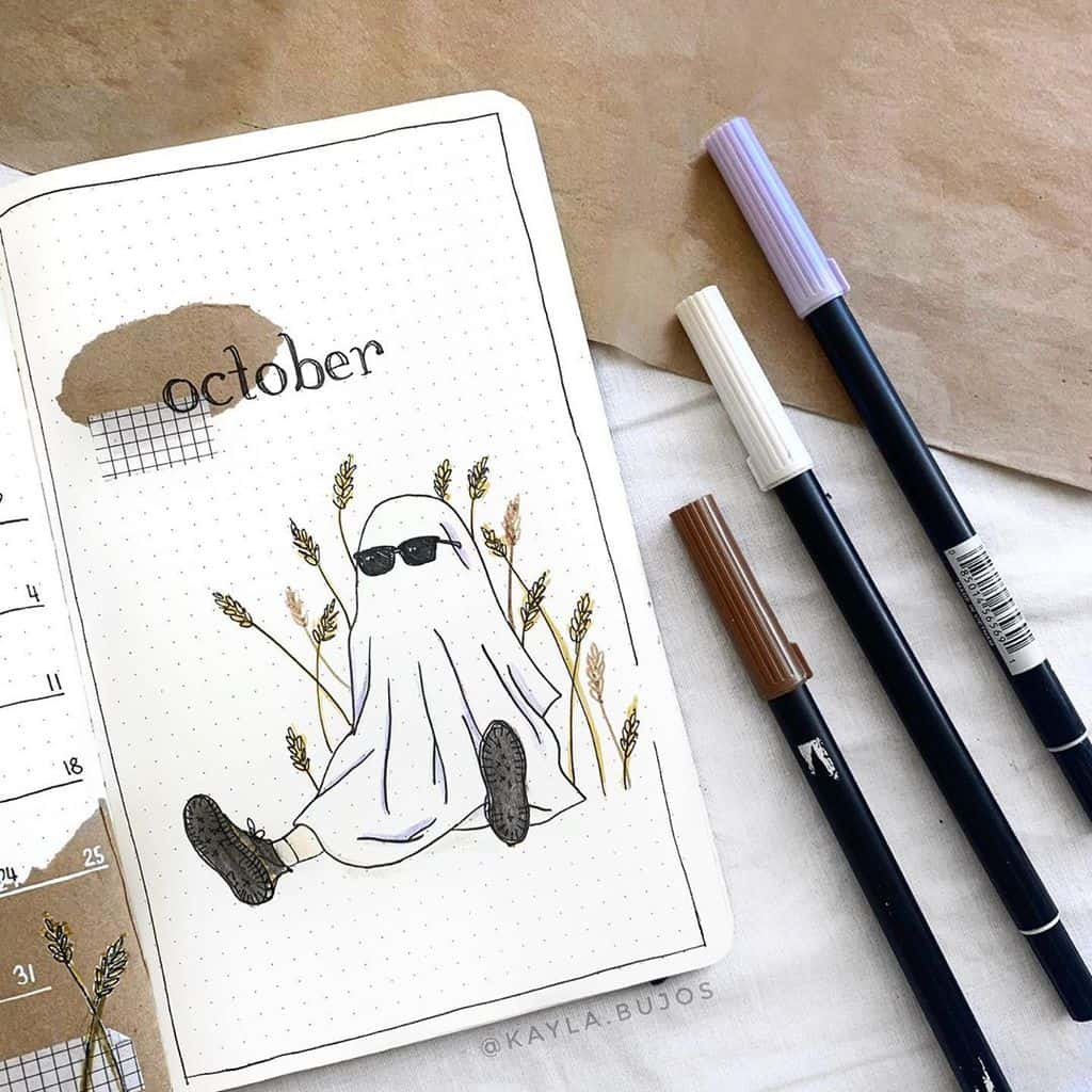 Kraft Paper Fall Bullet Journal Inspirations - cover page by @kayla.bujos | Masha Plans