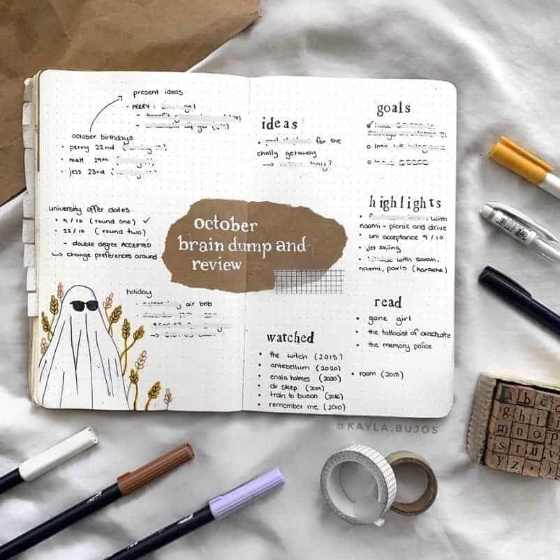 Kraft Paper Fall Bullet Journal Inspirations - brain dump by @kayala.bujos | Masha Plans