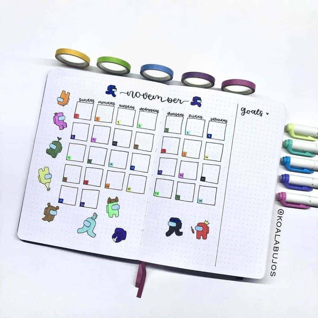 Among Us Themed Bullet Journal Inspirations, monthly log by @koalabujos| Masha Plans