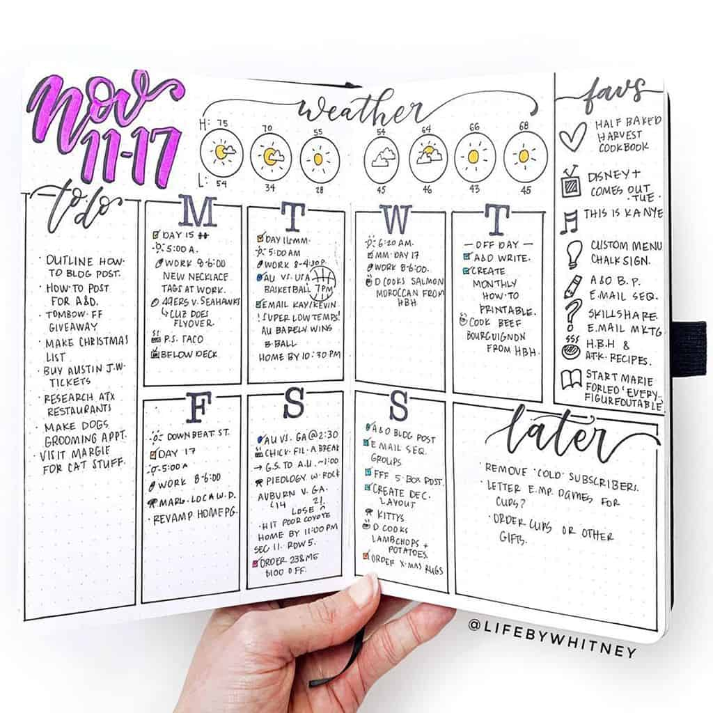 Bullet Journal Weekly Log by @lifebywhitney | Masha Plans