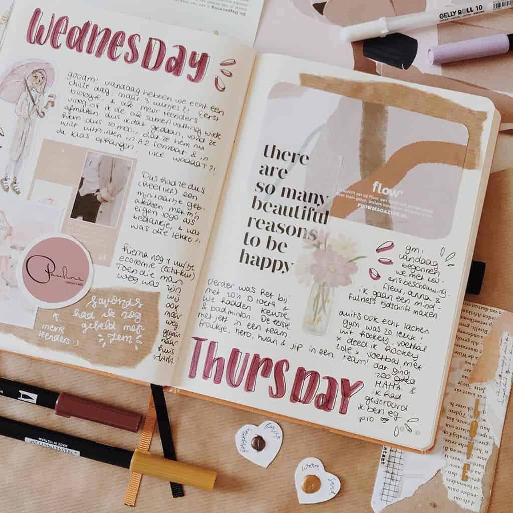 Kraft Paper Fall Bullet Journal Inspirations - weekly spread by @lotte.bujo | Masha Plans