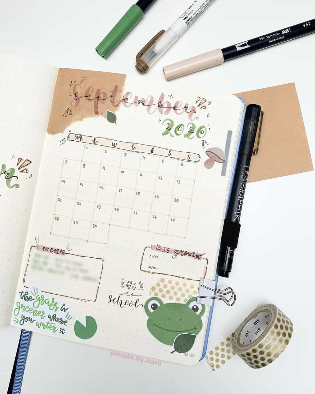 Kraft Paper Fall Bullet Journal Inspirations - monthly log by @made.by.carli | Masha Plans