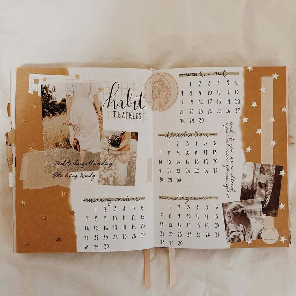 Kraft Paper Fall Bullet Journal Inspirations - habit tracker by @mandyvslebujo | Masha Plans