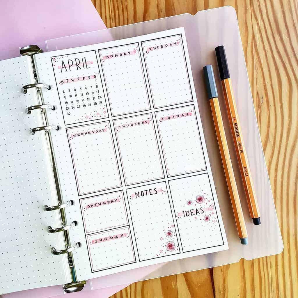 Bullet Journal Weekly Log by @marthasjournal   Masha Plans