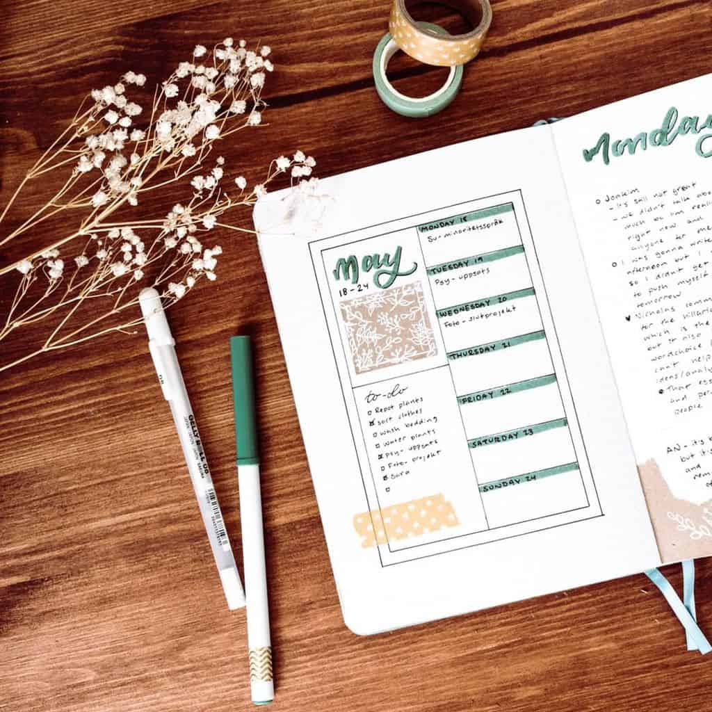 Bullet Journal Weekly Spread by @midniughtdreamreads   Masha Plans
