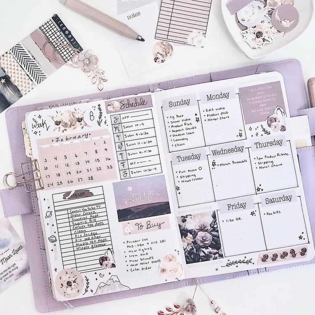 Bullet Journal Weekly Log by @mindful_hookup   Masha Plans