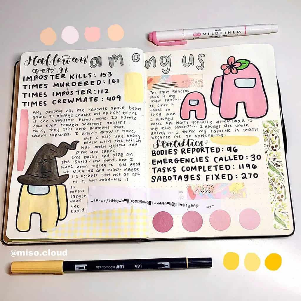 Among Us Themed Bullet Journal Inspirations, spread by @miso.cloud | Masha Plans