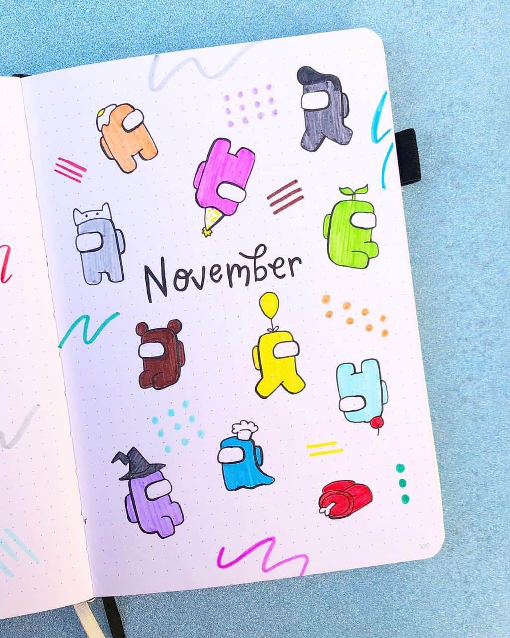 Among Us Themed Bullet Journal Inspirations, cover page by @msy_bujo | Masha Plans