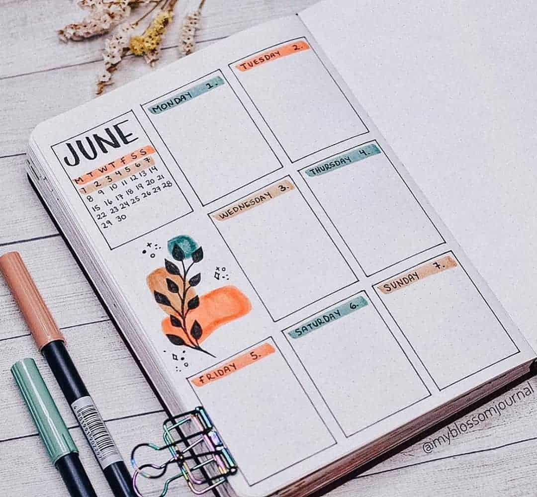 Bullet Journal Weekly Log by @myblossomjournal   Masha Plans