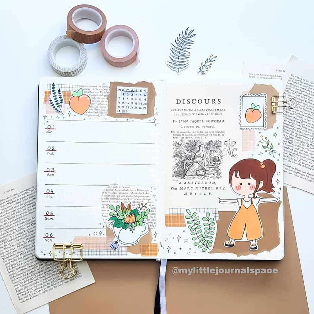 Kraft Paper Fall Bullet Journal Inspirations - weekly spread by @mylittlejournalspace | Masha Plans