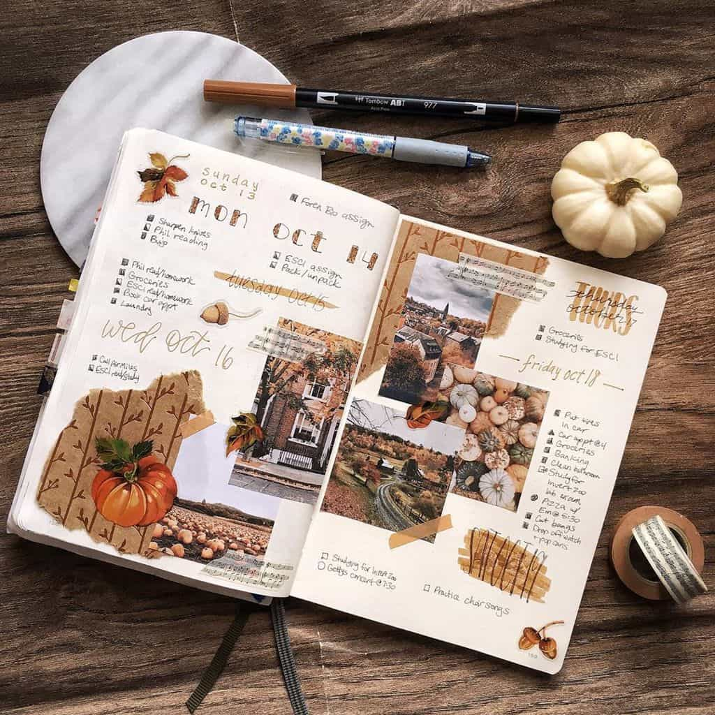 Kraft Paper Fall Bullet Journal Inspirations - weekly spread by @naomimeed | Masha Plans