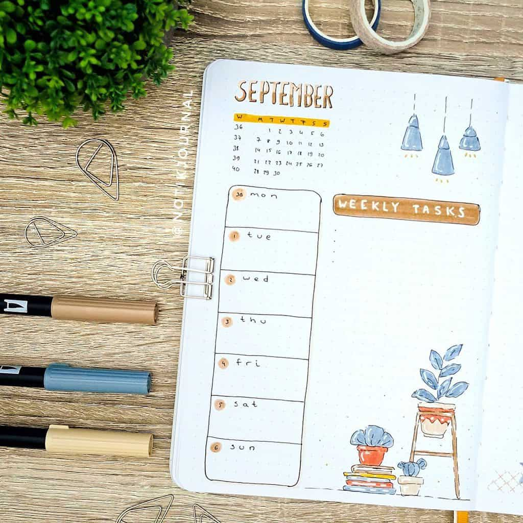 Bullet Journal Weekly Log by @notikjournal   Masha Plans