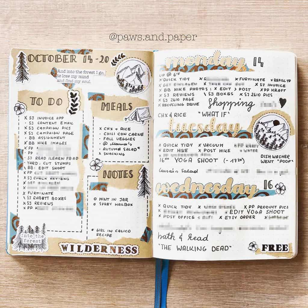 Kraft Paper Fall Bullet Journal Inspirations - weekly spread by @paws.and.paper | Masha Plans