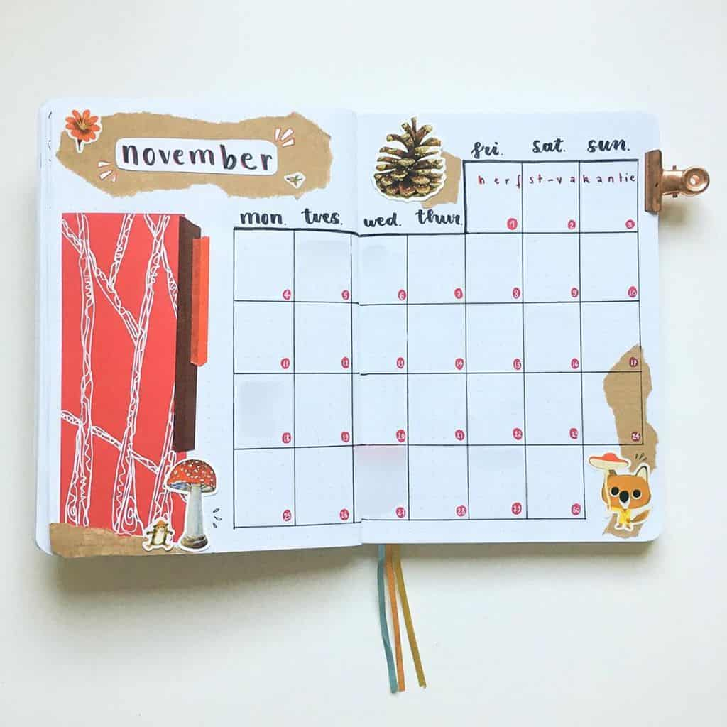 Kraft Paper Fall Bullet Journal Inspirations - monthly log by @penpalbujo.anne | Masha Plans