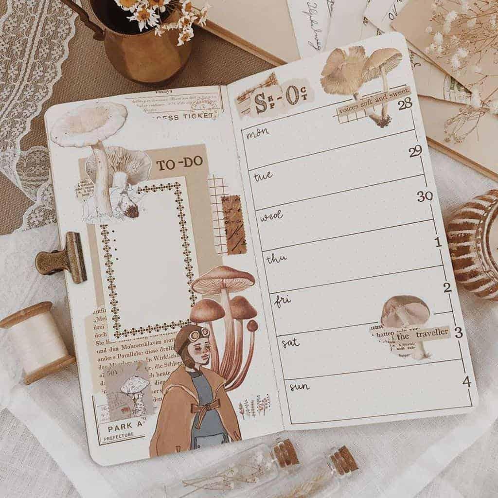 Kraft Paper Fall Bullet Journal Inspirations - weekly spread by @penpalmarie | Masha Plans