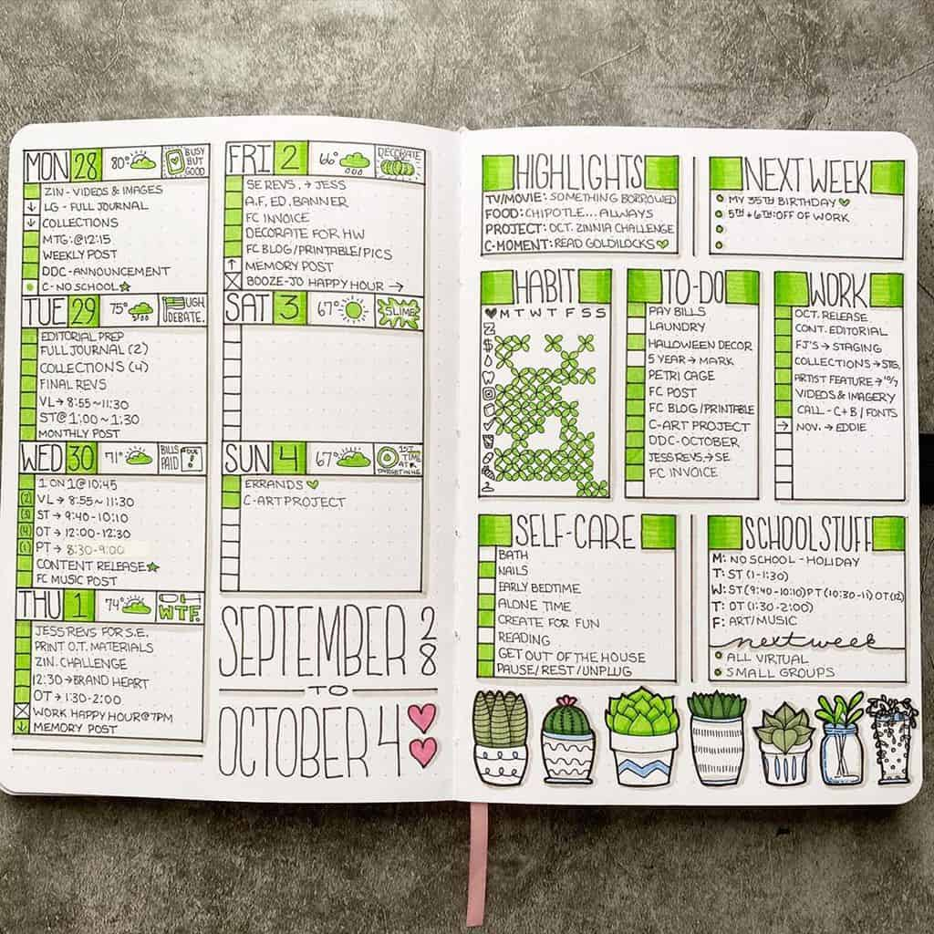Bullet Journal Weekly Log by @plansthatblossom | Masha Plans