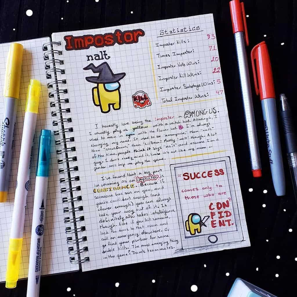 Among Us Themed Bullet Journal Inspirations, spread by @pretty.postage | Masha Plans
