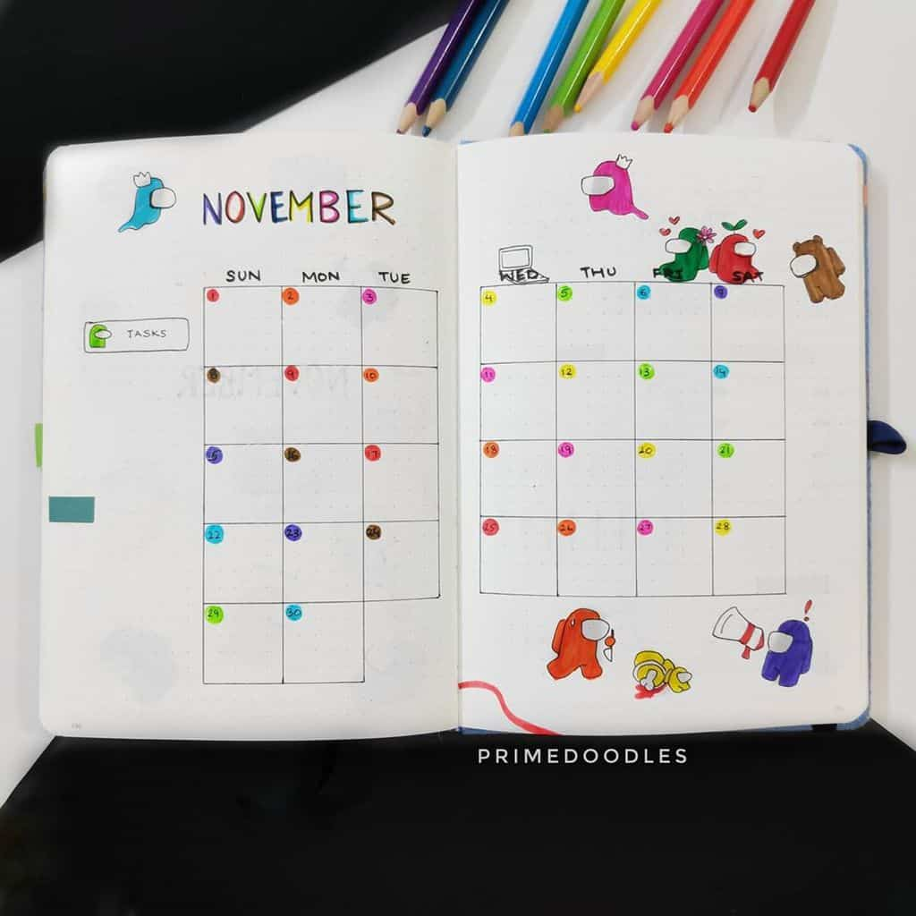 Among Us Themed Bullet Journal Inspirations, monthly log by @primedoodles | Masha Plans