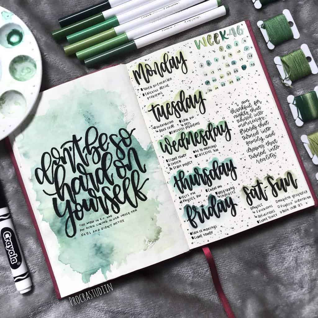Bullet Journal Weekly Spread by @procrastudiin   Masha Plans