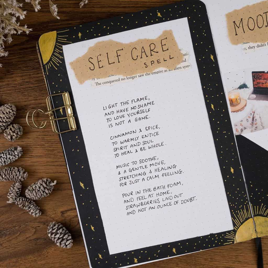 Kraft Paper Fall Bullet Journal Inspirations - self care page by @reflectwithraksha | Masha Plans