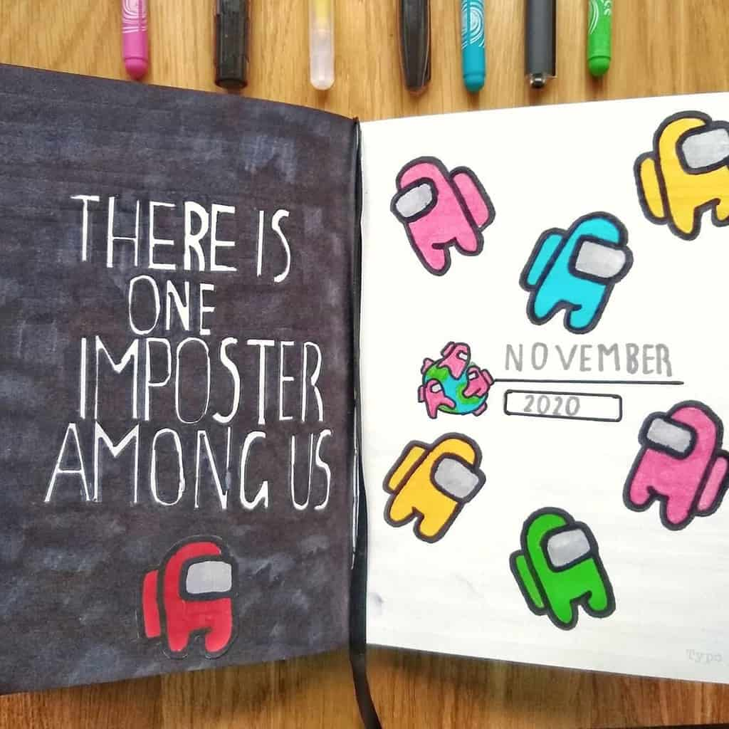 Among Us Themed Bullet Journal Inspirations, cover page by @studyabel | Masha Plans