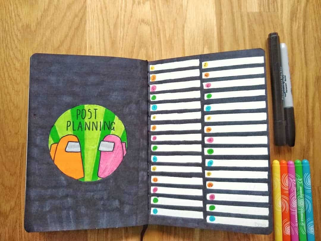 Among Us Themed Bullet Journal Inspirations, spread by @studyabel | Masha Plans