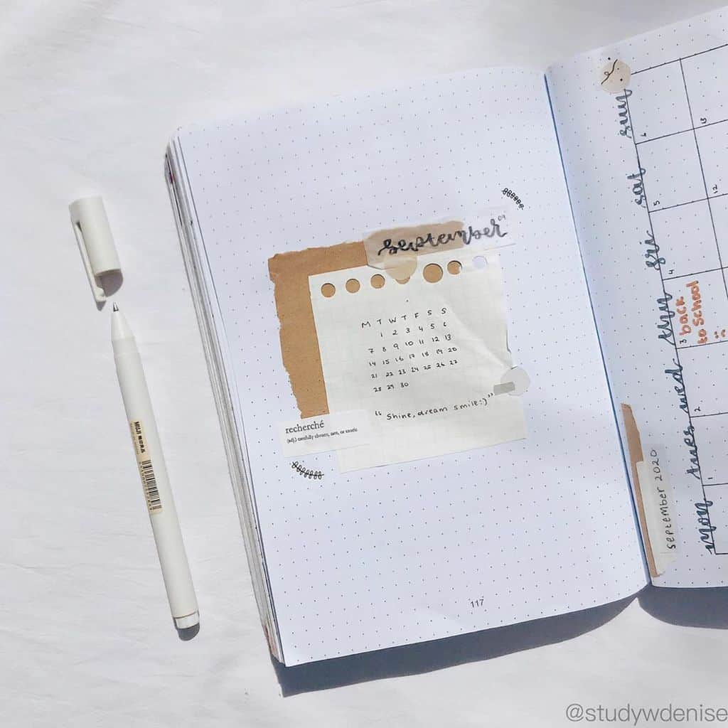 Kraft Paper Fall Bullet Journal Inspirations - cover page by @studywdenise | Masha Plans