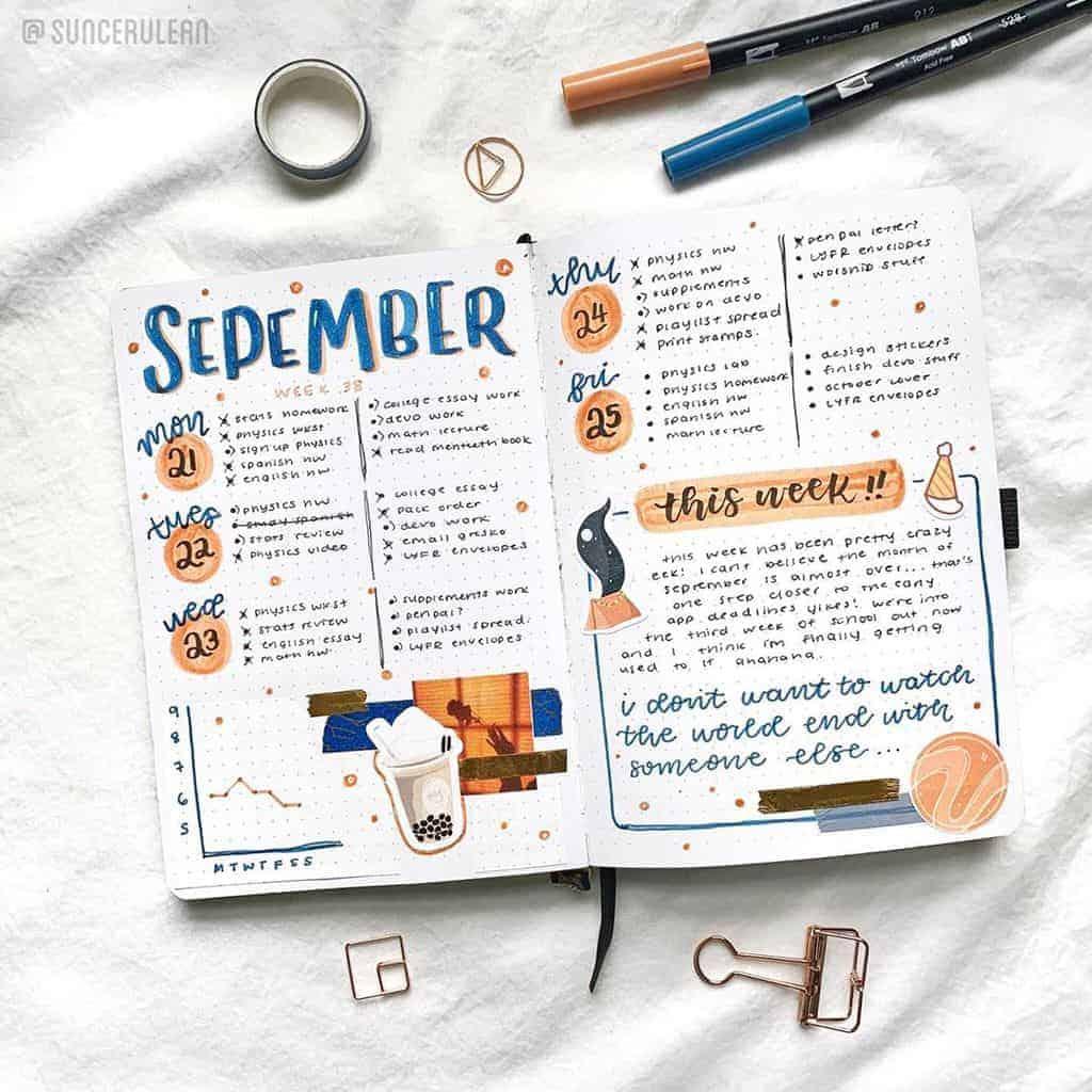 Bullet Journal Weekly Log by @suncerulean   Masha Plans